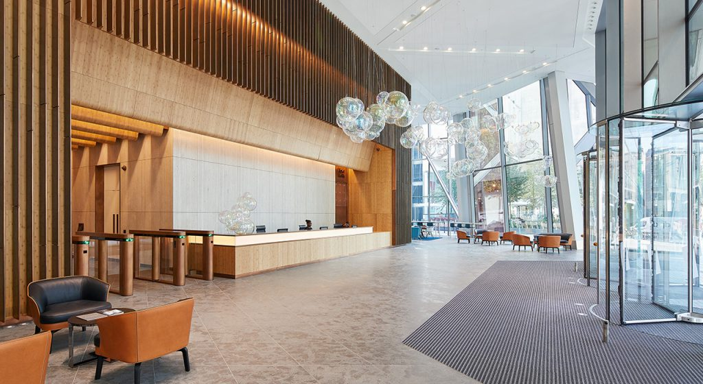 Reception of this Victoria Office Space